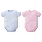 Baby City 娃娃城 天絲棉短袖肩開連身衣-點點(藍色/粉色)BB80014404[衛立兒生活館]