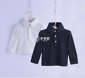男童寶寶襯衫純棉加絨嬰兒白襯衣兒童翻領打底長袖t恤禮服
