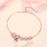 純銀腳鍊女韓版網紅森系玫瑰金個性女生飾品
