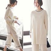 睡衣套裝 韓版寬鬆簡約睡衣家居服套裝-3色【Ann梨花安】