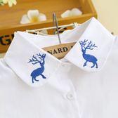 假領子假領片藍色可愛小鹿刺繡項鍊 帽T大學T針織衫內搭[E1200] 預購.朵曼堤洋行