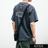 100%純棉夏季日系復古印花T恤短袖男士潮牌寬鬆體恤半袖潮流【全館免運】