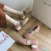 瑪麗珍鞋 毛毛鞋女秋冬季外穿中跟方頭羊羔毛單鞋加絨復古粗跟淺口瑪麗珍鞋 愛麗絲