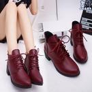 裸靴 秋冬季女士單鞋圓頭高跟馬丁靴英倫風女鞋粗跟短筒短靴女棉靴 - 古梵希