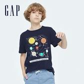 Gap男童 純棉宇宙主題印花短袖T恤 903199-藍色