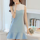 荷葉立領拼接式無袖魚尾裙洋裝 (水藍) ...