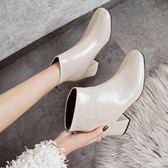 小短靴女春秋2018新款瘦瘦單靴粗跟白色高跟及踝靴方頭馬丁靴子mks歐歐