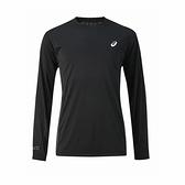 Asics [2011C084-002] 男 長袖 上衣 亞洲版 圓領 內搭 透氣 運動 休閒 慢跑 亞瑟士 黑
