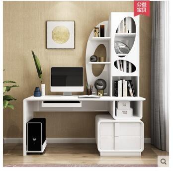 電腦桌 電腦台式桌家用現代簡約經濟型學生寫字桌子書櫃書桌書架一體組合【免運】