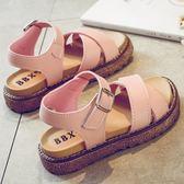 兒童涼鞋女正韓中大童女孩公主鞋平底小學生女童涼鞋  青木鋪子