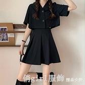 短袖裙裝 2021新款高腰百褶半身裙防走光A字短裙女裝黑色裙子 短袖襯衣 開春特惠