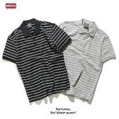 夏季潮牌薄款有領短袖T恤男 寬鬆條紋翻領運動體恤polo短袖衫男士『潮流世家』
