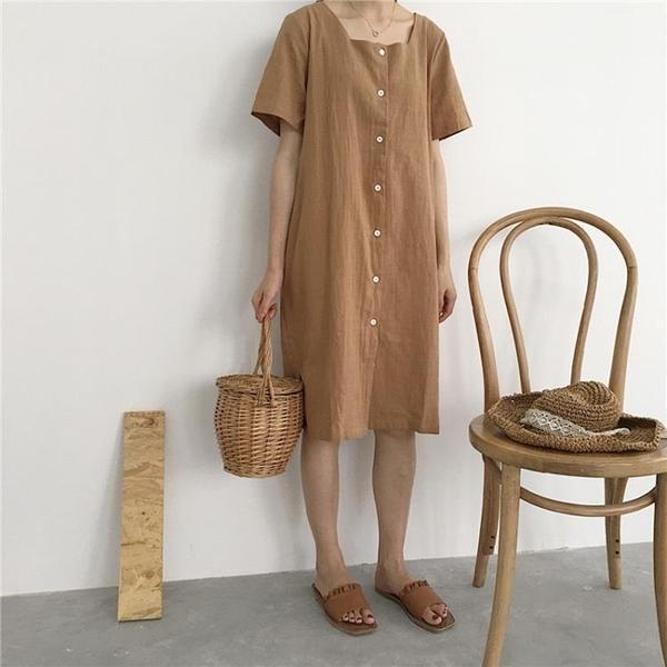 [超豐國際]夏裝女裝復古中長款寬松棉麻短袖連衣裙顯瘦氣質開叉1入