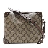 GUCCI 古馳 棕色PVC材質牛皮飾邊斜背包 Massanger Bag 626363 【二手名牌BRAND OFF】