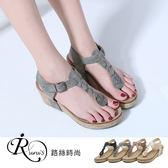 【快速出貨】韓系簡約麻編扣環楔型夾腳涼鞋/4色/35-41碼 (RX0187-1629) iRurus 路絲時尚
