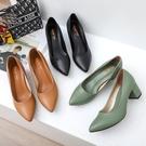 【41-43全尺碼】粗跟鞋.MIT優雅氣質素面尖頭高跟包鞋.白鳥麗子