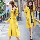風衣 大衣-中長版純色翻領顯瘦大方女外套3色73pt24【巴黎精品】