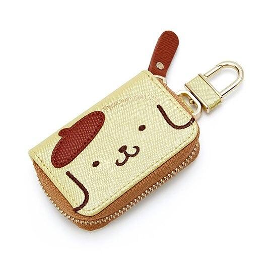 〔小禮堂〕布丁狗 皮質拉鍊鑰匙包《黃棕.大臉》掛飾.收納包.遙控包 4550337-32445