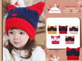 可愛動物貓咪造型針織帽/牛角帽/惡魔帽/貓耳帽(五色)