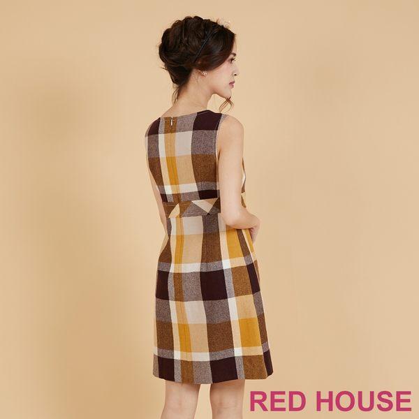 RED HOUSE-蕾赫斯-格紋毛料背心洋裝(共2色)