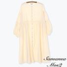 「Spring」定番格紋棉質蓬袖開襟洋裝 (提醒→SM2僅單一尺寸) - Sm2
