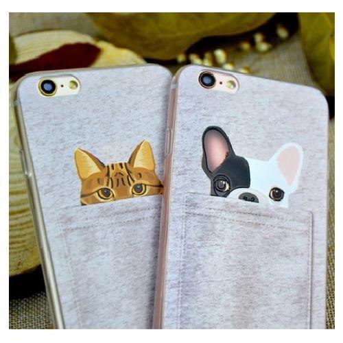 蘋果 iPhone 7/8 i7 手機殼 外殼 軟殼 情侶 創意 潮流 新款 動物 貓 法鬥 狗 可愛 口袋