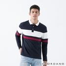【GIORDANO】 男裝拼接彈性長袖POLO衫 - 64 藍/白/紅