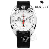 BENTLEY 賓利 / BL1682-10001 / 藍寶石水晶玻璃 計時 日期 日本機芯 德國製造 真皮手錶 銀x黑 43mm
