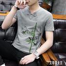 中國風亞麻短袖t恤男士刺繡棉麻體恤夏季休閒半袖流古風上衣服xy4269【艾菲爾女王】