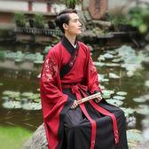 重回漢唐漢服男幽玄刺繡廣袖交領上衣齊腰下裳傳統日常中國風春秋