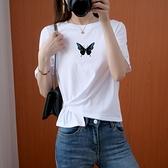 夏純棉季新款設計感側邊交叉短袖T恤女ins心機短款上衣1816 H310 依品國際