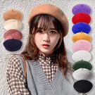 加厚立體 羊毛呢貝蕾帽 畫家帽 復古英倫 貝蕾帽 蓓蕾帽 貝雷帽 毛帽 女帽 秋冬【葉子小舖】