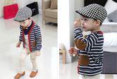 【現貨最後一件】新款中小男童全棉條紋補丁外套 寶寶單排扣針織開衫