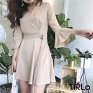 洋裝 -Tirlo-推薦!氣質V領繫帶荷...