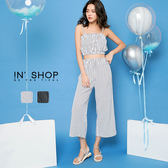 IN' SHOP短版條紋兩件式褲套裝-共2色【KT24196】