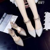 韓版百搭女單鞋高跟鞋灰色搭扣中空一字扣涼鞋粗跟尖頭鞋 俏腳丫