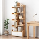 北歐書架落地置物架小型書櫃實木色簡約家用簡易客廳創意收納架子【快速出貨】