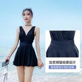 泳裙 泳衣女士新款潮連體裙式遮肚顯瘦性感黑色遮肉平角學生游泳衣 莎瓦迪卡