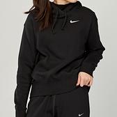 Nike Hoodie FLC Trend 女款 黑 白勾 刷毛 長袖 CZ2591-010