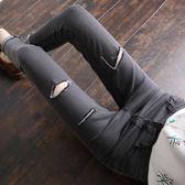春秋新款煙灰色顯瘦個性破洞九分牛仔褲女高腰緊身彈力修身小腳褲