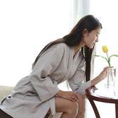 店慶優惠-棉質華夫格浴袍棉質灰色浴衣美容院浴服定制logo名稱【限時八九折】