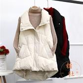 羽絨棉馬甲女中長版外穿秋冬寬鬆百搭背心外套