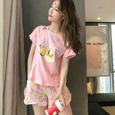 睡衣女夏套裝夏季短袖兩件套韓版女生清新寬鬆學生可外穿可愛  限時八折鉅惠 明天結束