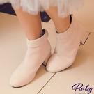 鞋子 素面反摺後拉鍊麂皮粗跟短靴-Rub...