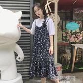 韓版寬鬆顯瘦小清新中長款碎花雪紡吊帶洋裝學生女裙子 韓語空間