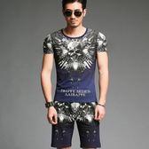 短袖T恤男 韓版潮流 休閒上衣 夏季中國風潮流骷顱頭個性印花短袖T恤半袖體恤衫wx3394