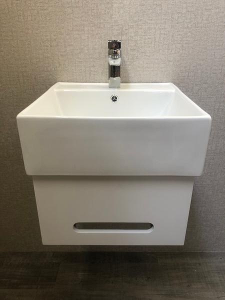 *人氣推薦。小資必買!衛浴設備 寬47cm臉盆+短櫃(無收納功能) 下開孔可掛毛巾 附水龍頭及配件