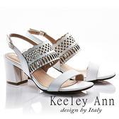 ★2018春夏★Keeley Ann異國風情~雅典幾何鏤空全真皮粗跟涼鞋(白色)