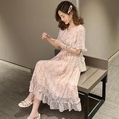 孕婦洋裝 網紅洋氣懷孕婦裝雪紡碎花洋裝辣媽潮夏季仙小香風裙子超仙女范