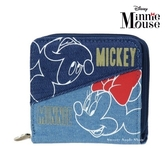 日本限定 迪士尼 米奇&米妮 牛仔布版 零錢包 / 收納夾 / 短夾